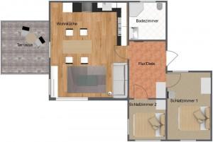 Grundriss des Ferienhauses Rebbelstieg